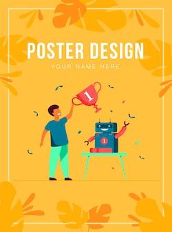 Kind krijgt prijs voor robot poster sjabloon