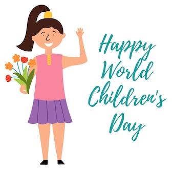 Kind meisje boeket bloemen feliciteert kinderen vakantie wereldkinderendag