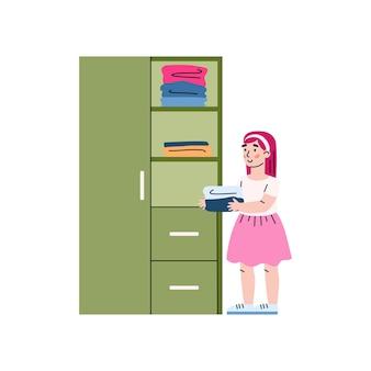 Kind meisje druk huishoudelijk werk kleren in de kast zetten een vectorillustratie