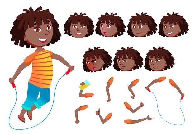 Kind meisje karakter. afrikaanse. creatie constructor voor animatie. gezichtsemoties, handen.