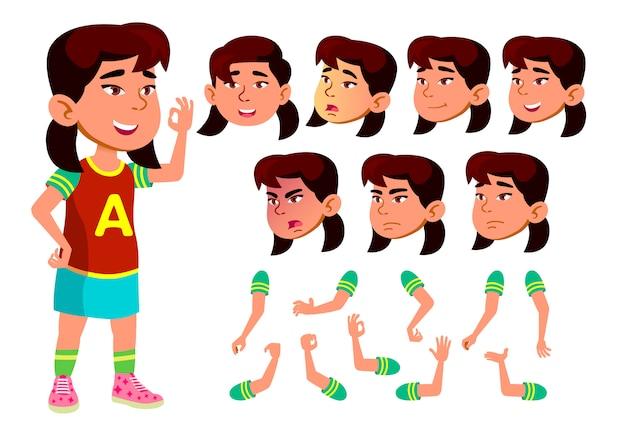 Kind meisje karakter. aziatische. creatie constructor voor animatie. gezichtsemoties, handen.