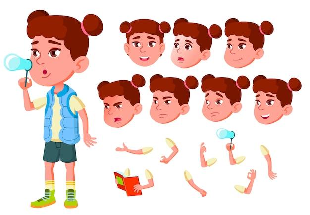 Kind meisje karakter. europese. creatie constructor voor animatie. gezichtsemoties, handen.