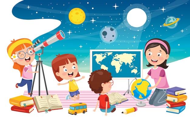 Kind met behulp van telescoop voor astronomisch onderzoek