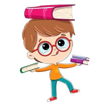 Kind met boeken die saldo doen. hij heeft boeken in zijn handen en probeert niet te vallen