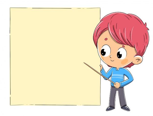 Kind met een wijzer op een schoolbord