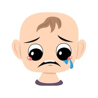 Kind met huilen en tranen emotie verdrietig gezicht depressieve ogen hoofd van schattige baby met melancholie expre...