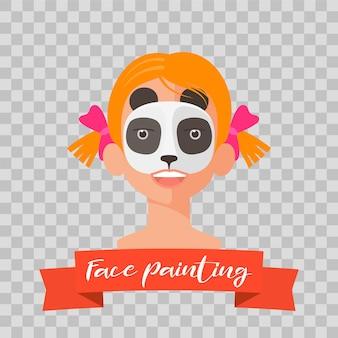 Kind met panda-schminken op transparante achtergrond. kindgezicht met dierlijke make-up geschilderd voor kinderfeestje