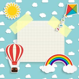 Kind met regenboog, zon, wolk, vlieger en ballon. plaats voor tekst. illustratie