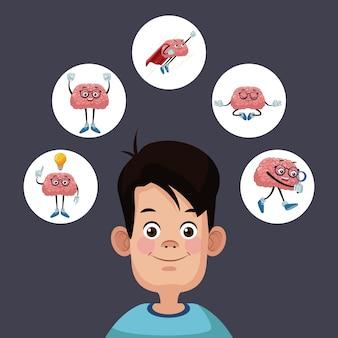 Kind silhouet met hersenen cartoon