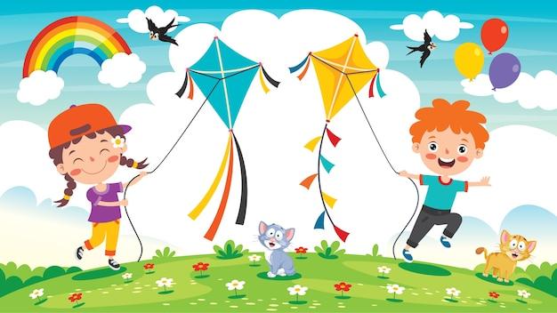 Kind spelen met een kleurrijke vlieger