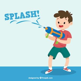 Kind spelen met waterpistool