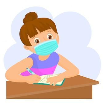 Kind studeert met gezichtsmasker. terug naar school illustratie