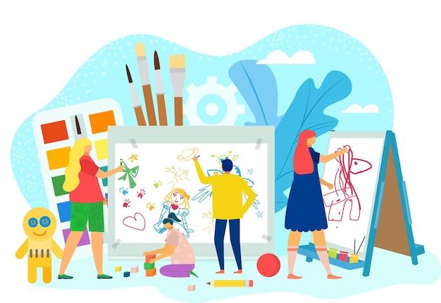 Kind tekenen vector illustratie kleine man vrouw karakter verf op papier schoolonderwijs met fl...