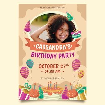 Kind verjaardag kaartsjabloon