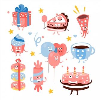 Kind verjaardagsfeestje snoep en attributen