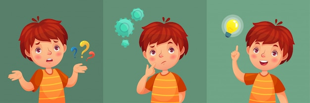 Kind vraag. de nadenkende jonge jongen stelt vraag, verward jong geitje en begrijpt of vond het portretillustratie van het antwoordbeeldverhaal