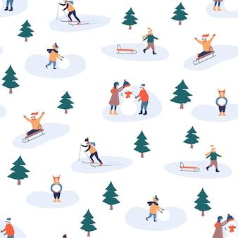 Kind winter vrije tijd. fijne feestdagen en vrolijk kerstfeest. kinderen maken een sneeuwpop naadloos patroon.