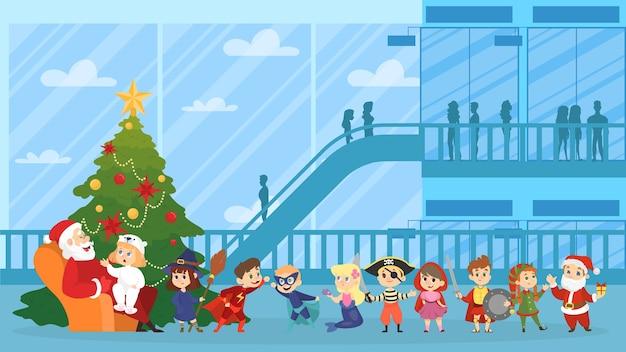 Kind zit met de kerstman in rode kleren en spreekt met hem. gelukkig jong geitje dat in wachtrij staat. kerstkarakter in fauteuil bij de sparrenboom. illustratie