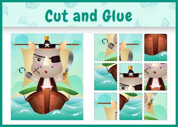 Kinder bordspel gesneden en lijm thema pasen met een schattig piraat neushoorn karakter op het schip