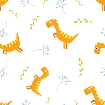 Kinder cartoon vector schattig patroon met dinosaurussen.
