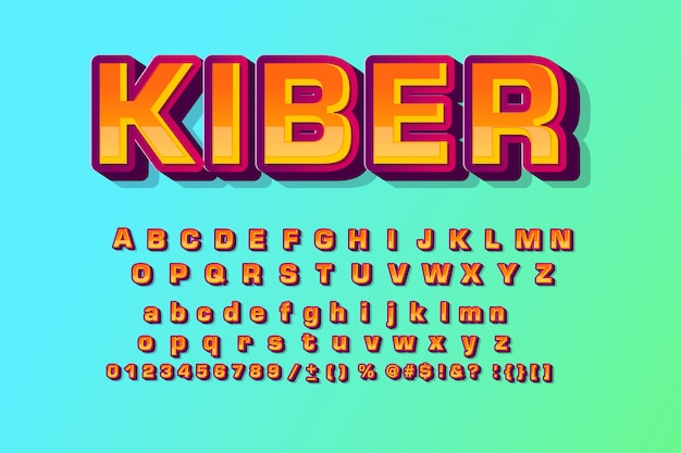 Kinder lettertype in de cartoon-stijl