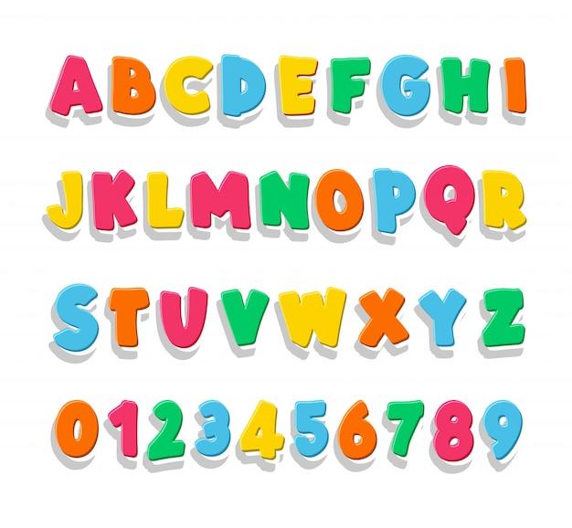 Kinder lettertype in de schattige cartoon-stijl