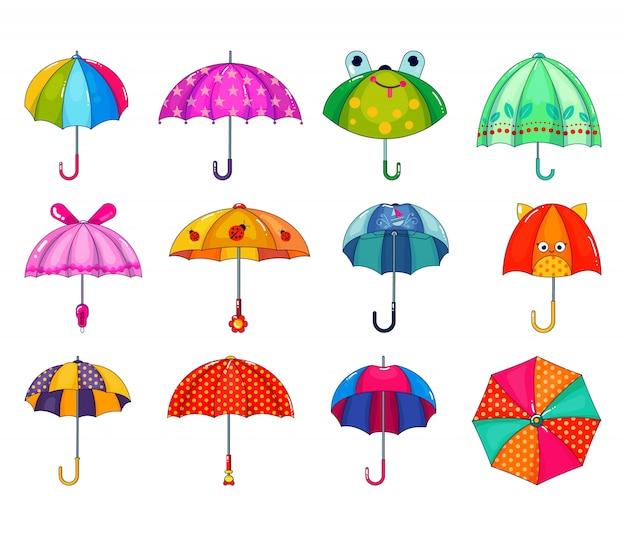 Kinder paraplu vector kinderachtig paraplu-vormige regenachtige bescherming open en kinderen gestippelde parasol illustratie set van kinderlijke beschermende dekking geïsoleerd.