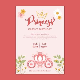 Kinder prinses verjaardag kaartsjabloon
