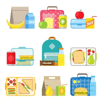 Kinder school lunchbox pictogram in vlakke stijl