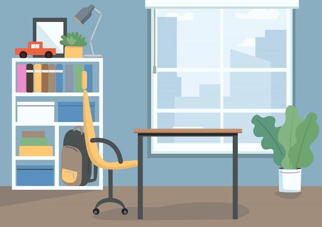 Kinder slaapkamer kleur illustratie. kinderkamer met boeken en speelgoed op planken. bureau en stoel als studieplek. woonkamer cartoon interieur met decor op achtergrond