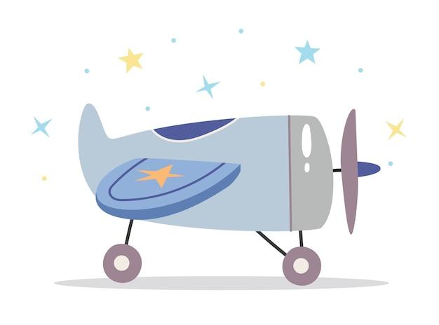 Kinder speelgoed vliegtuig in scandinavische retro stijl