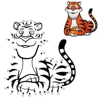 Kinder spel punt tot punt tijger