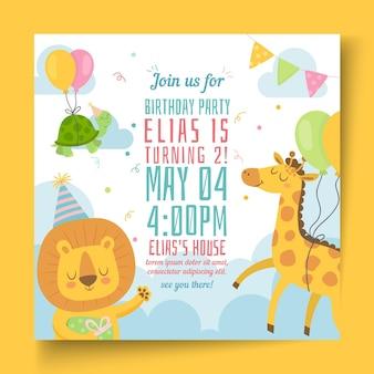 Kinder verjaardag kwadraat flyer-sjabloon