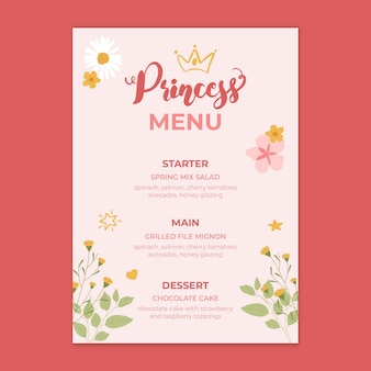 Kinder verjaardag prinses menusjabloon