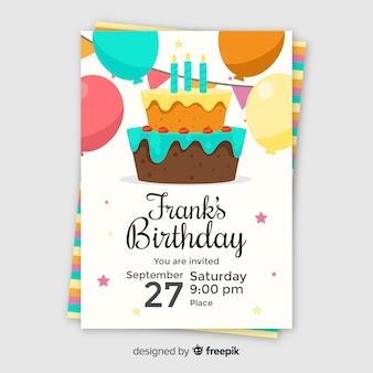 Kinder verjaardag uitnodiging sjabloon met cake