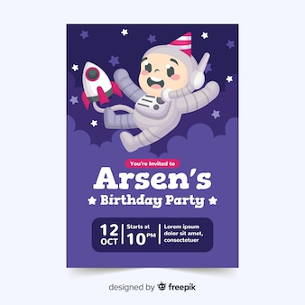 Kinder verjaardag uitnodiging sjabloon met cartoon