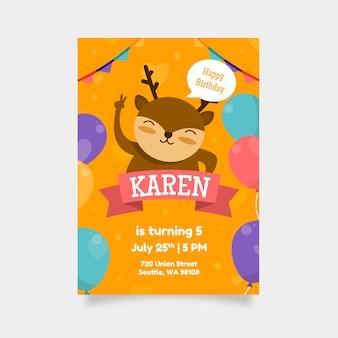 Kinder verjaardagskaart ontwerpsjabloon