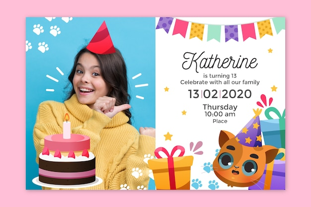 Kinder verjaardagsuitnodiging met afbeelding sjabloon
