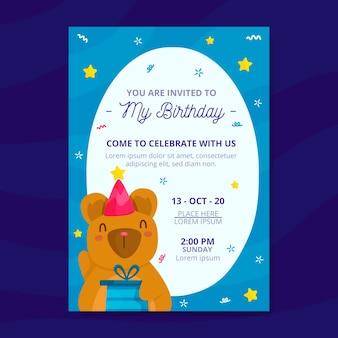 Kinder verjaardagsuitnodiging met beer sjabloon