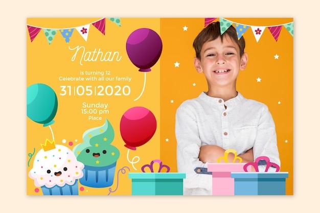 Kinder verjaardagsuitnodiging met foto sjabloon