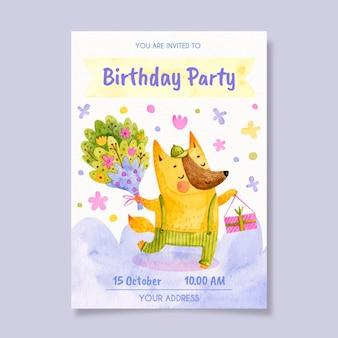 Kinder verjaardagsuitnodiging sjabloon met dier