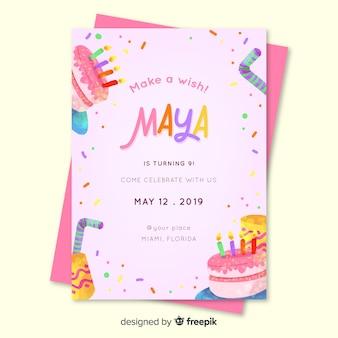 Kinder verjaardagsuitnodiging voor meisje sjabloon