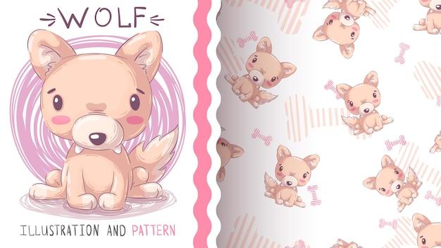 Kinderachtig cartoon karakter dier wolf naadloze patroon