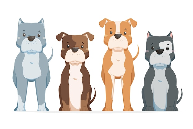 Kinderachtig cartoon pitbull pack