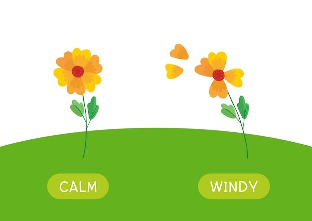 Kinderachtig educatieve woordkaart met antoniemen sjabloon. flashcard voor engelse taalstudie. tegenstellingen, weerconcept, kalm en winderig. stilstaande en wuivende bloemen