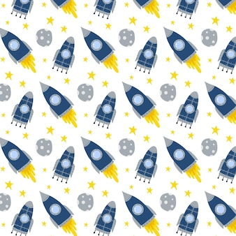 Kinderachtig handgetekend naadloos patroon met raket raket en sterrenpatroon