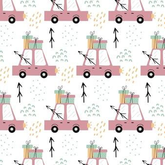 Kinderachtig handgetekend naadloos patroon met roze auto patroon met een auto met cadeaus