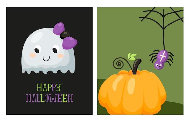 Kinderachtig happy halloween-feestkaartset leuke spookpompoen en hangend aan de webspin vector
