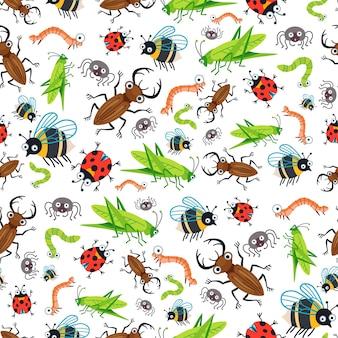 Kinderachtig helder cartoon insecten patroon. een vector