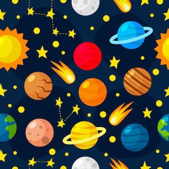 Kinderachtig naadloos patroon - kosmos, sterren, planeten en kometen.
